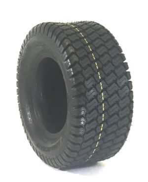 a tire with a black rim