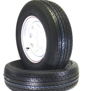 a black tire with a white circle on the rim